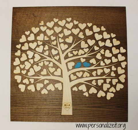 Tree of Life with Hearts Wooden Wedding Guestbook Alternative