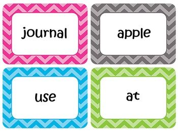 Editable Word Wall Template that allows you to type in your own words. Chevron Border.