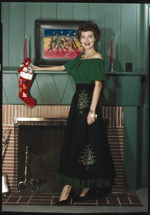 Ava Gardner looking  festive for the Christmas holidays. actress vintage 1950s