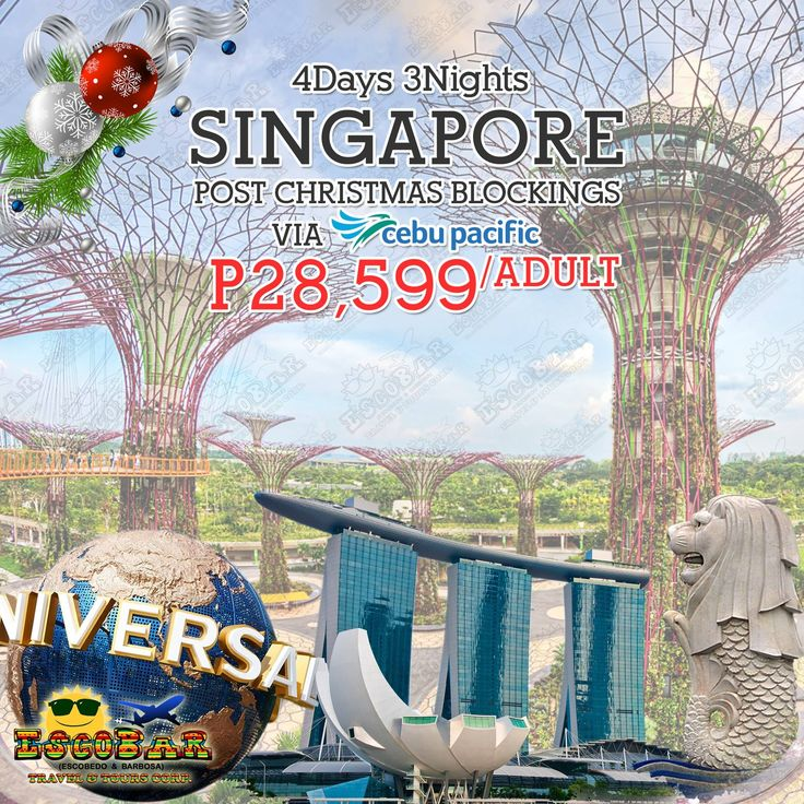 🇸🇬4D|3N SINGAPORE POST CHRISTMAS BLOCKINGS VIA CEBU PACIFIC🇸🇬  P28,599/ADULT (TWIN/TRIPLE SHARING) P33,699/ADULT (SINGLE OCCUPANCY) P23,499/CHILD (NO BED & NO BREAKFAST)  TRAVEL DATE: DEC 26-29 / 27-30, 2017  #EscobarTravel #TravelwithEscobar #Singapore #PostChristmasBlockings!!!