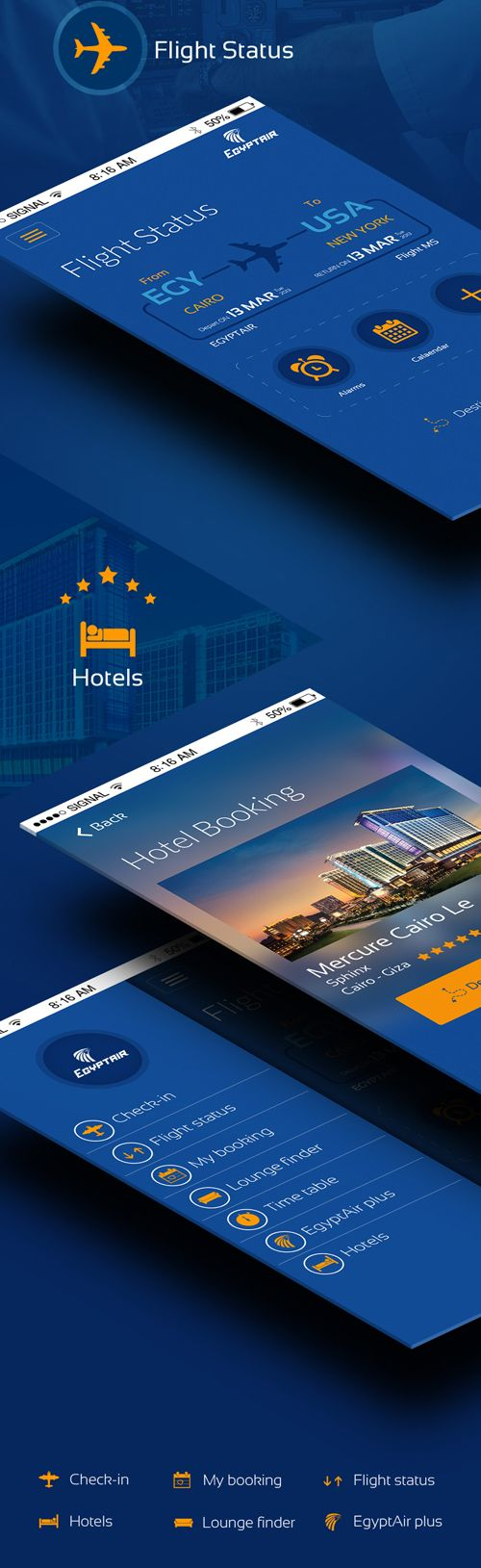 Redesign Egyptair mobile app UI Design Concepts to Boost User Experience