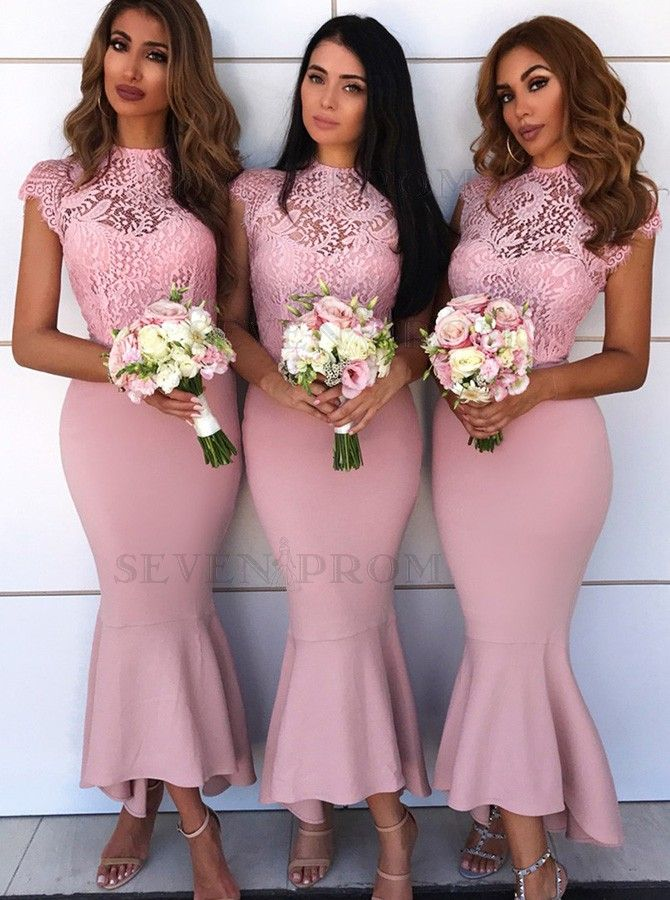 Shop the best Mermaid Round Neck Cap Sleeves Pink Bridesmaid Dress with Lace at Sevenprom.com, high quality and best price!