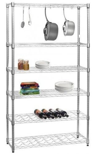 Chrome Shelving Unit for Kitchens - 4 Shelves, 2 Wine Racks, 6 S-Hooks, H1625 x W910 x D355 mm