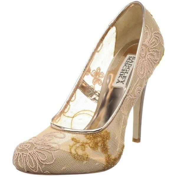 Badgley Mischka Women's Oaks Pump ❤ liked on Polyvore featuring shoes, pumps, neutral, badgley mischka shoes, couture shoes, metallic high heel shoes, high heel pumps and high heel court shoes