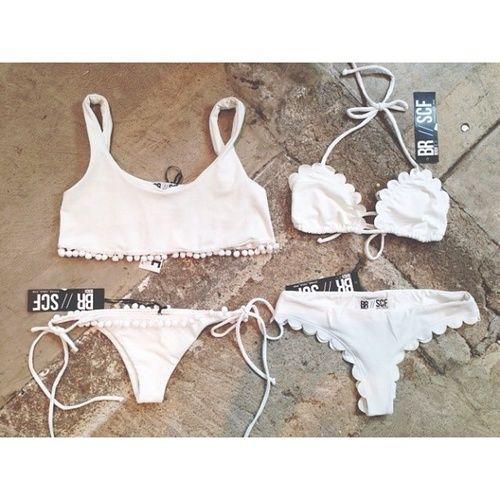 i love classic white bikinis- especially the scalloped style!
