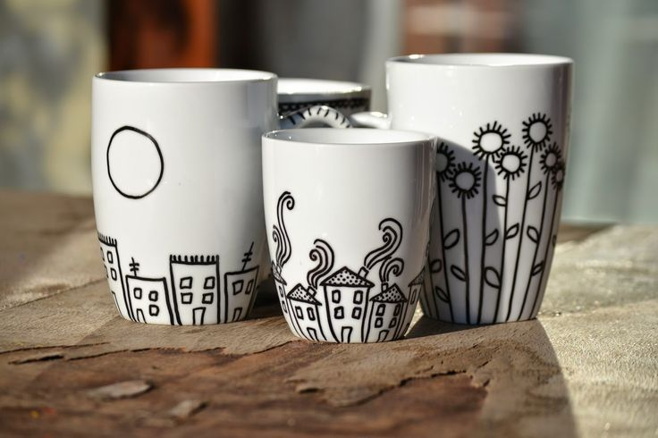 Alexandra Diona: Handpainted Mugs ~ Decorated with porcelaine marker ~ Personalized Mugs