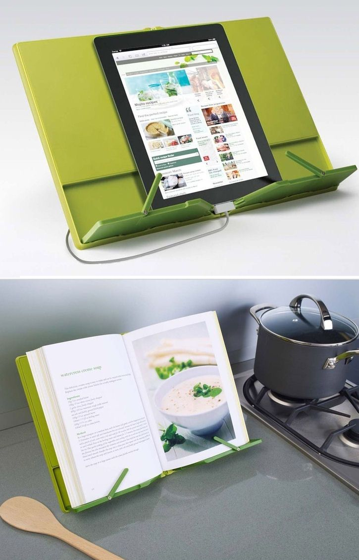 Compact Space-Saving Cookbook Holder works w/Tablet or Traditional Cookbooks