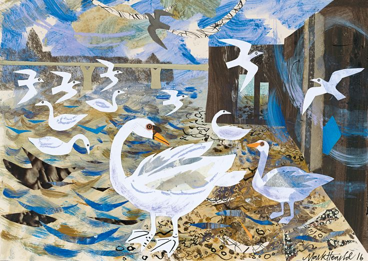 Mark Hearld's 'Swans on the Thames' mixed media collage, one of a series of new works to be exhibited as part of St Jude's In The City at The Bankside Gallery from 23rd November until 4th December 2016. Find out more... http://www.stjudesprints.co.uk/collections/st-judes-in-the-city-november-2016