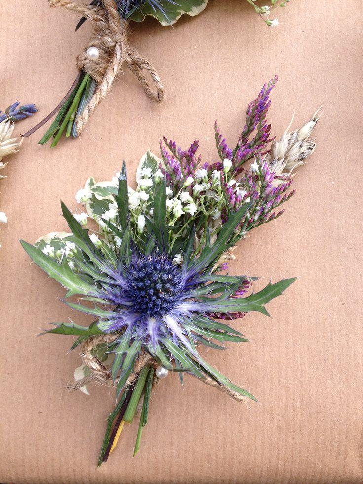 Eryngium thistle buttonhole