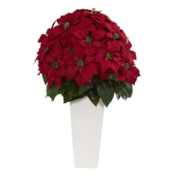 32 Poinsettia Artificial Plant In White Planter Poinsettia Plant Artificial Plants Small Artificial Plants