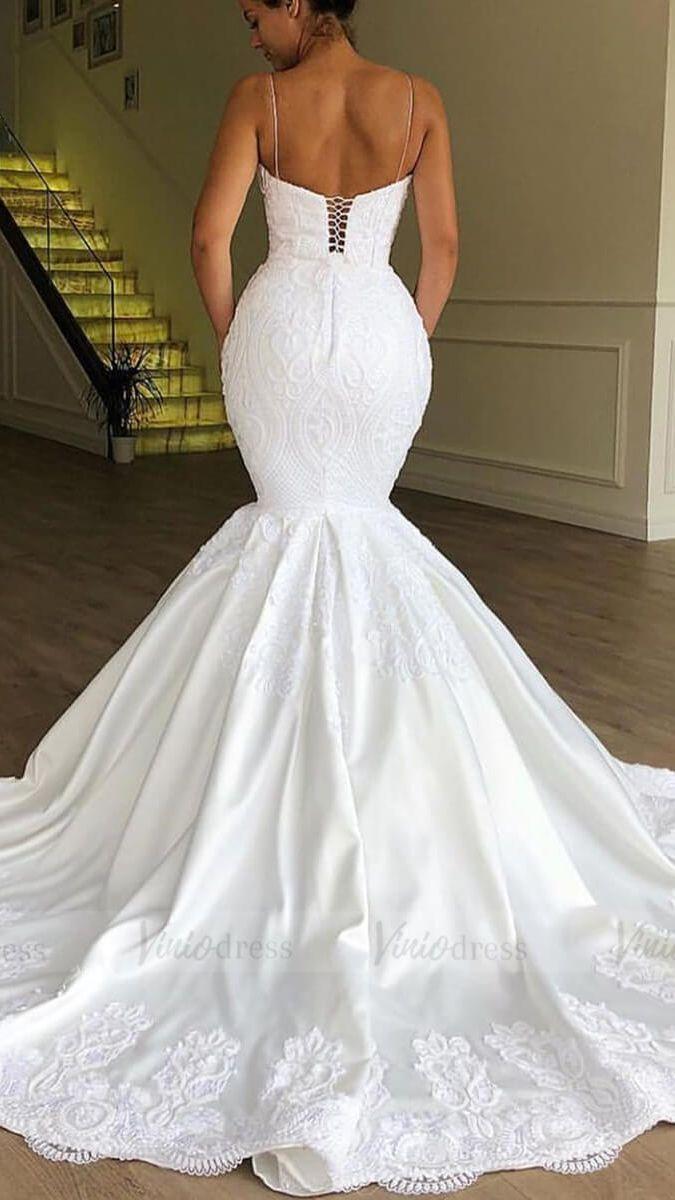 Spaghetti Strap Mermaid Lace Wedding Dresses Lace Up Bridal Dress Vw1365 Latest Wedding Gowns Bridal Dresses Wedding Dresses Lace [ 1200 x 675 Pixel ]
