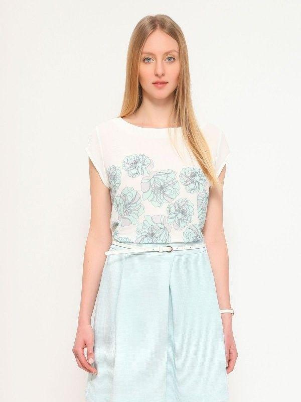 Bluza alba eleganta cu imprimeu floral bleu, maneca scurta, dama
