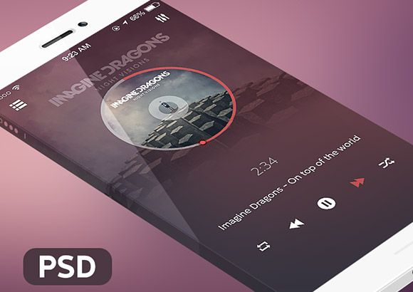 Here is an elegant and modern music app design for iOS7. Free PSD designed and released byStoica Alexandru.