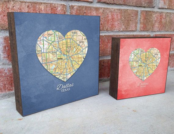 DALLAS TEXAS HEART ART WOOD BLOCK  You Choose from 12 retro Colors  *A perfect housewarming gift, couples gift or birthday gift of their hometown or present city.  We scan REAL MAPS (no generic photoshop here!) and look for maps with color and character, between 5 and 30 years old, which means that there may be some slight blemishes, smudges or even bleed-thru. We use a variety of maps: Roadmaps evoke memories of riding in the back of the station wagon on a road trip as a kid, while Atlases…