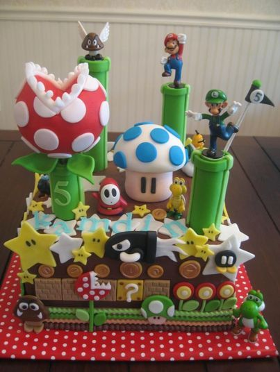 Para os fãs de video game, e do Super Mario #Mario's Cake