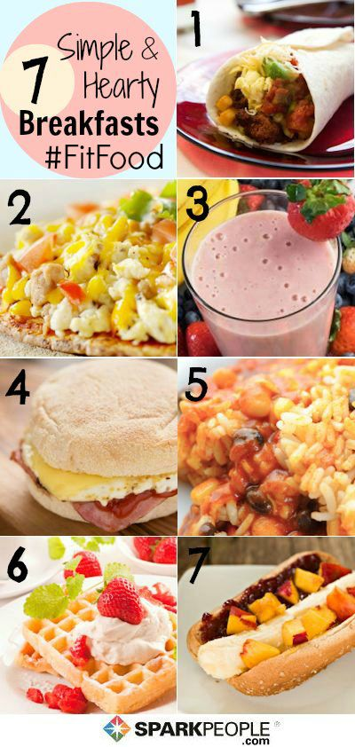 A week's worth of healthy breakfast ideas you can make in minutes! (Click for a shopping list too!) | via @SparkPeople