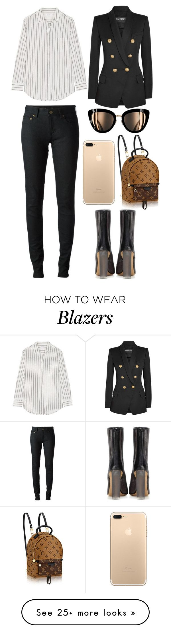 """Untitled #3789"" by fashionhypedaily on Polyvore featuring Yves Saint Laurent, Equipment, Balmain and adidas Originals"