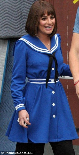 A (Rachel) Berry good likeness! Lea Michele channels Barbra Streisand in Funny Girl on Glee set in cute blue sailor outfit