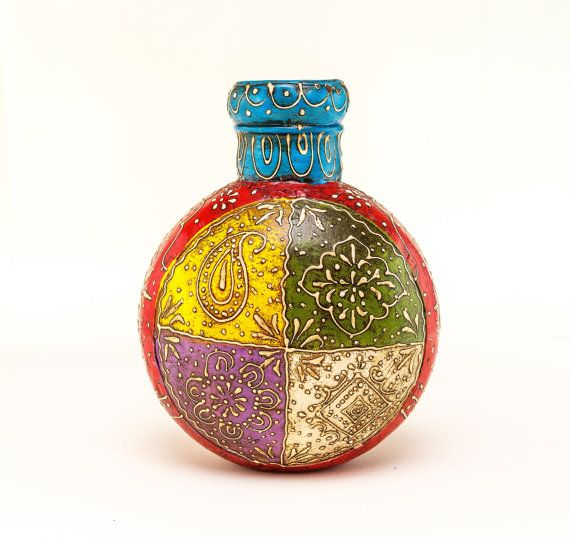Colorful Metal Vase from India, Home Decor, Gift