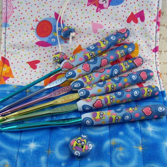 Crochet Hook Case with Set of Boye Crochet Hooks, Handmade with Polymer Clay