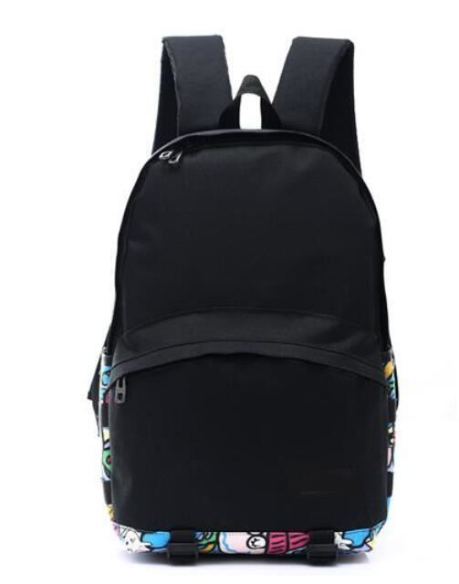 Teenager Girl Fashion Solid Pattern Canvas Material Black Color Stylish Backpack
