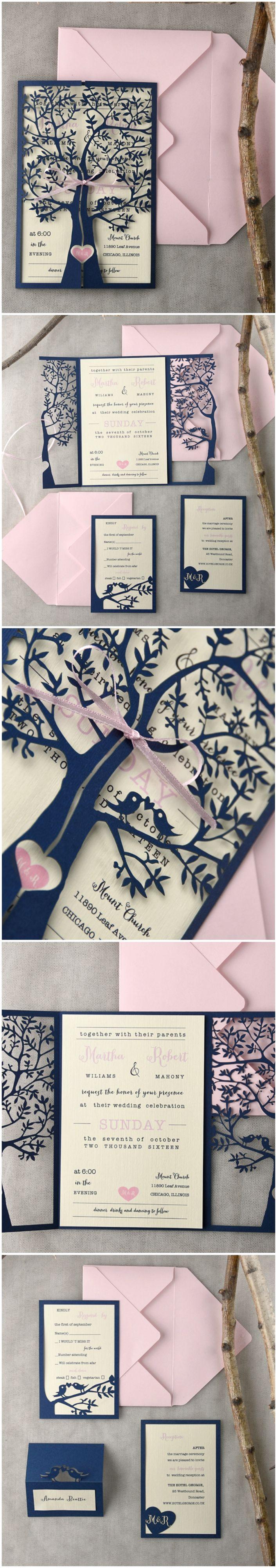 Pink & Navy Lasercut Wedding Invitations - Tree & Lovebirds #pink #navy #weddinginvitations #elegant #romantic #unique #lasercut