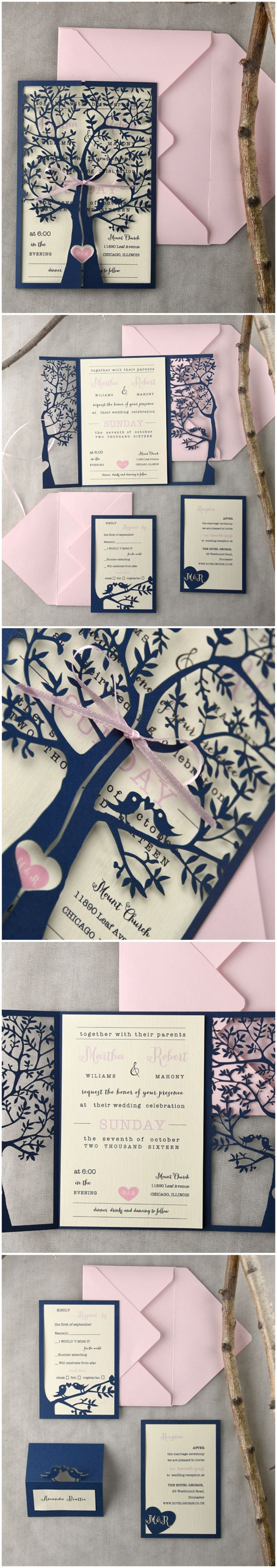 Pink & Navy Lasercut Wedding Invitations - Tree & Lovebirds #pink #navy #weddinginvitations #elegant #romantic #unique #lasercut