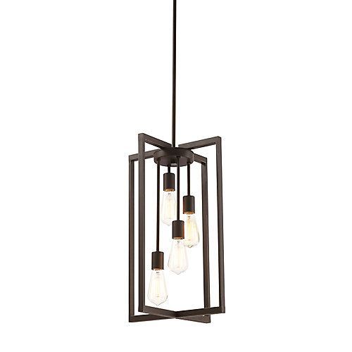 Modern to contemporary home style elongated pendant shown with filament bulbs (not included). Straight lines and geometric shape adds sophisticated style. Perfect for minimalist and industrial décor styles over dining area.