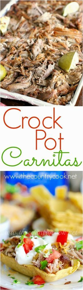 Crock Pot Carnitas recipe from The Country Cook. The slow cooker makes the meat turn out so tender and it gives it so much flavor! Perfect for Cinco de Mayo!