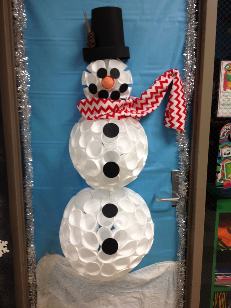 My styrofoam cup snowman for my 1st grade door for Snowman made out of cups