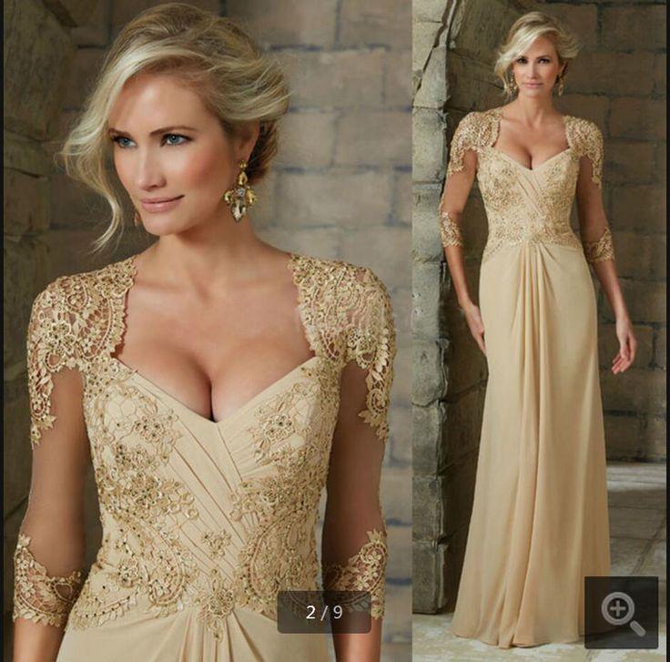 estido Longo De Festa Formal Dresses Long Robe Soiree 2016 New Arrival 3/4 Sleeves Mother Of The Bride Dress Lace Evening Gown