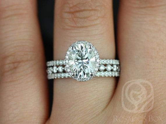 Federella 9x7mm & Petite Bubble Breathe 14kt Oval FB Moissanite and Diamond Halo TRIO Wedding Set (Other metals and stone options available)