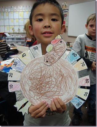 Count by 10s!  Turkey style... gobble gobble~