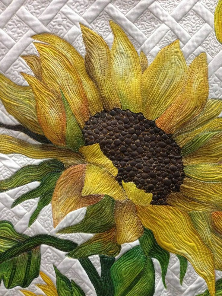 "Detail of ""A Taste of Sunshine"" by Deb Crine bloominginchintz.blogspot.com ...love the trellis quilted in  background of this stunning appliqued (broidery perse?) sunflower.....vwr"