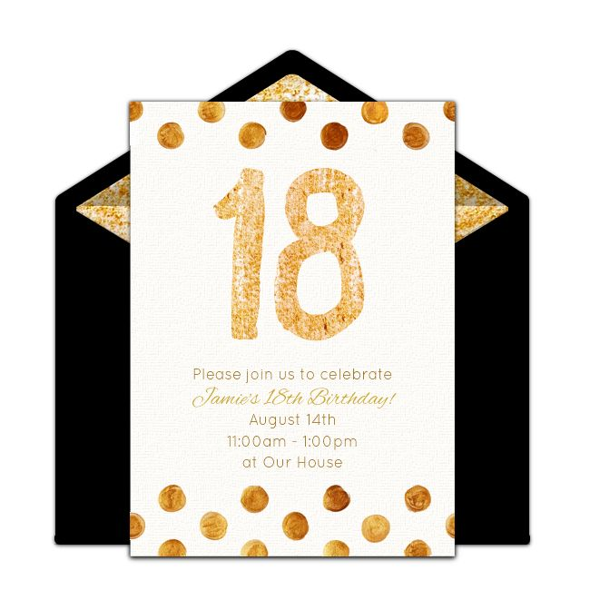 Customizable, free Golden 18 online invitations. Easy to personalize and send for a 18th birthday party. #punchbowl