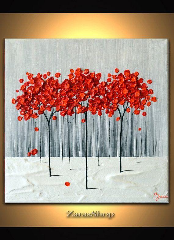 Strukturierte Malerei der modernen Kunst 12×12, rote Baummalerei, abstrakte Landschaft, einzigartiges Wanddekorgeschenk   – Art