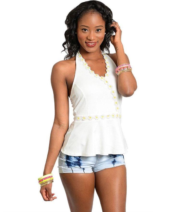 Womens Peplum Top Size M Solid Ivory Daisy Flower Trim Halter Straps #TeaNRose #Halter #Casual