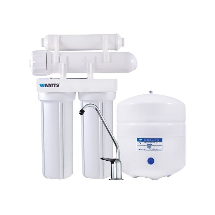 Watts PWRO4 4 Stage Reverse Osmosis System with 3 Gallon Storage Tank Water Filtration Reverse Osmosis System Point of Use
