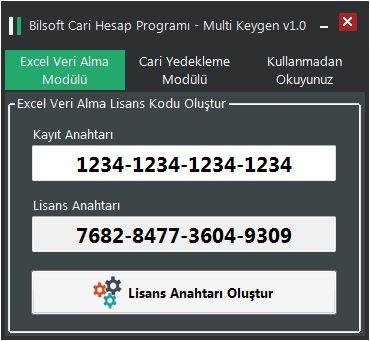 Bilsoft Excel Veri Alma ve Yedekleme Multi Keygen v1.0