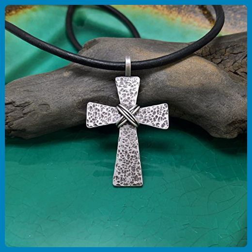 Mens Cross Necklace, Sterling Silver Hammered Cross on Leather Cord with Hand Forged Clasp Components, Mens Rustic Cross, Mens Rugged Cross, Mens Distressed Cross, Men's Cross Necklace - Wedding nacklaces (*Amazon Partner-Link)