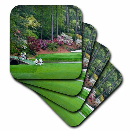 3dRose Amen Corner in Augusta Georgia - Golfers on Bridge, Soft Coasters, set of 4