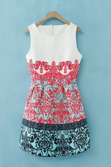 white, coral, and turquoise dress