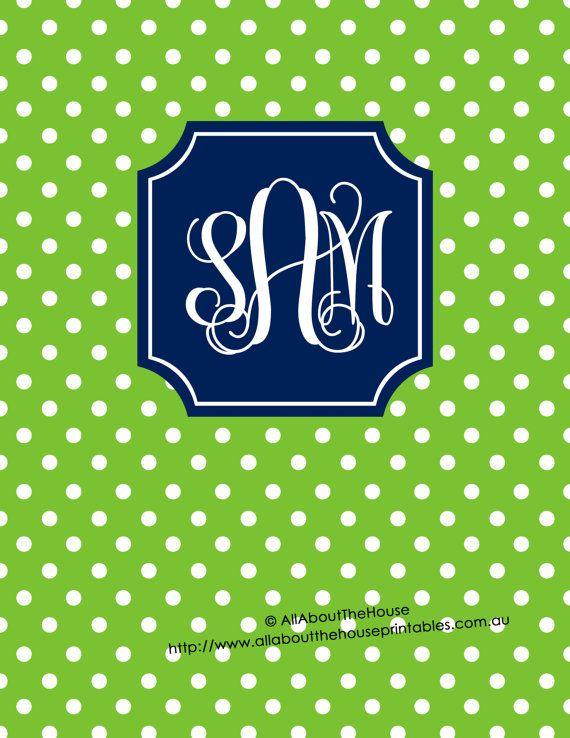 Editable Printable Monogram Binder Cover and spine chevron polka dot stripe gingham quatrefoil DIY personalised Notebook Stationery Preppy school college navy green https://www.etsy.com/au/listing/229603809/editable-printable-monogram-binder-cover?ref=listing-shop-header-0