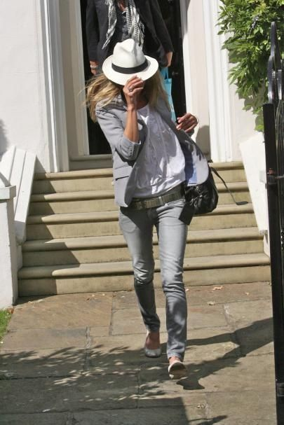 Panama Hat + Peasant top + Blazer + Gray Jeans + Flats  Perfect for:  Library and Park Runs, Lunch dates
