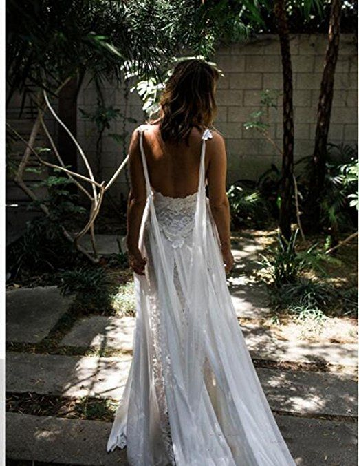 6dfe025d2dd Veilace Women s Lace Beach Wedding Dress High Split Chiffon A-line Backless  Bridal Gowns .. at Amazon Women s Clothing store