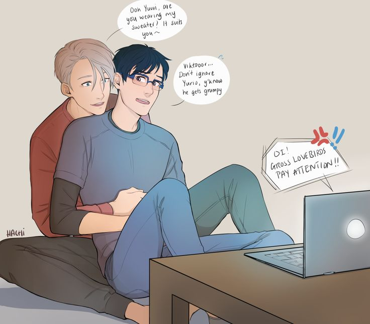 "hachidraws: ""Poor Yurio can't catch a break, even over long distance video calls (Viktor you act oblivious but we all know otherwise) """
