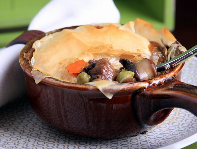 Olives for Dinner | Vegan Recipes and Photography: Vegan Pot Pie with Portobella, Green Garbanzo and Shallots