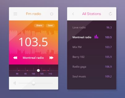 "Check out this @Behance project: ""FM Radio UI Playoff"" https://www.behance.net/gallery/13705857/FM-Radio-UI-Playoff"