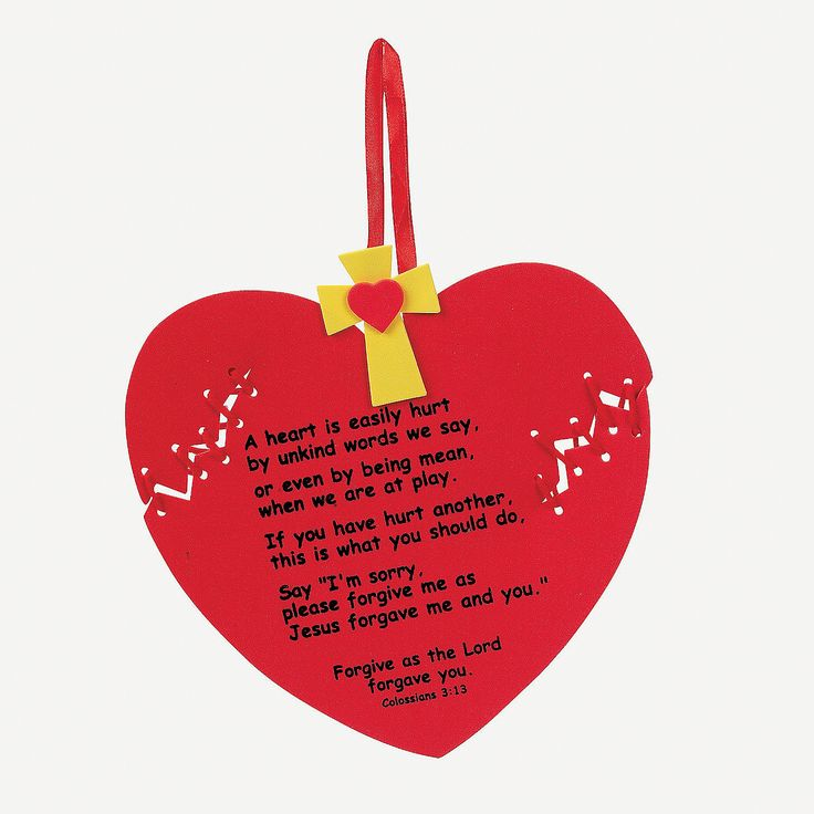 Forgiveness Heart Craft Kit.  Kit discontinued from oriental trading,  but the poem and basic craft could be duplicated.