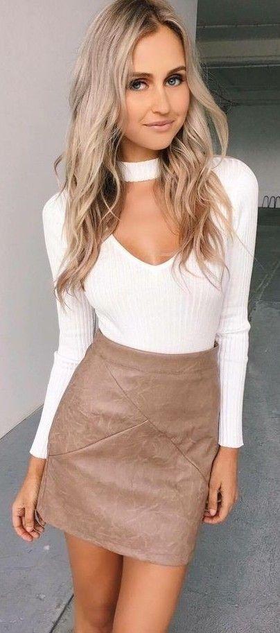 Beige skirt   white top